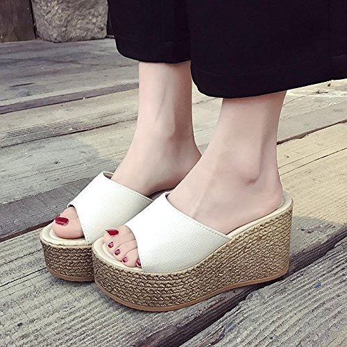 LvYuan Damen Sommer Hausschuhe / Komfort Casual Fashion / Wedge Ferse / Dick Boden / wasserdichte Plattform / High Heel / Sandalen / Strand Schuhe Weiß