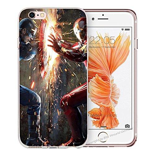 Handyhülle Helden Avengers kompatibel für Samsung Galaxy S7 Edge Iron Man VS Captain America Schutz Hülle Case Bumper transparent M9 (Edge Vs)