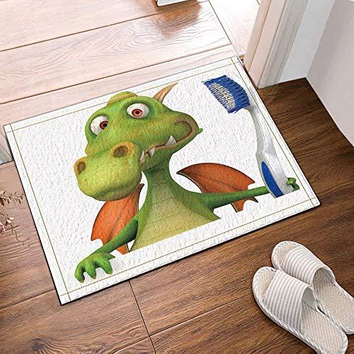 nbürste Green Little Dragon auf weißem Hintergrund Rechtwinklige Badezimmer-Matte Gothic Doormat Kids 40X60CM Bathroom Accessory ()