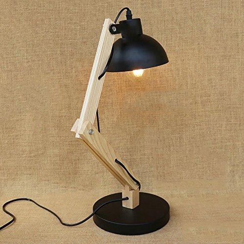 TOYM UK Américain Country Chambre Chevet Étude Salon Bureau Café Solide Bois Creative Tête Simple Petite Lampe de Table (Couleur : Noir)