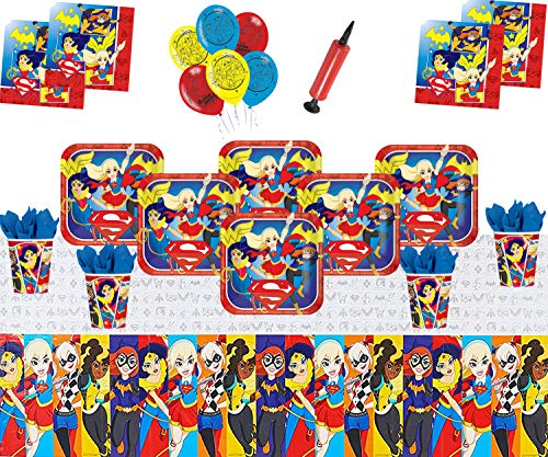 DC Super Hero Mädchen Party Supplies Kinder Geburtstag Geschirr Dekorationen DC Comics Party Pack 16 - Super Mädchen Luftballons Plate Cup Serviette Tischdecke (Party Supplies Superheld Geburtstag)