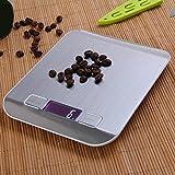 Shuzhen,LCD Digital Kitchen Scale Fingerabdrucksichere Edelstahlplattform 5000g / 1g Wiegevorrichtung mit Hintergrundbeleuchtung(Color:GRAU)