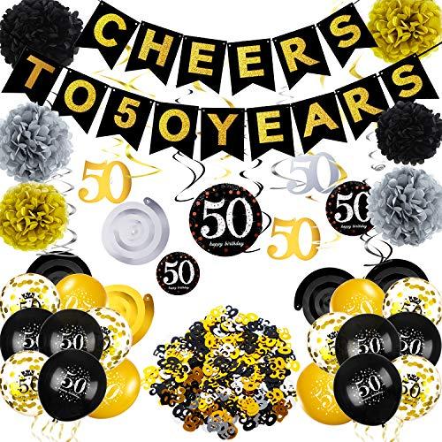 50 Años Decoraciones de Fiesta de cumpleaños Conjunto,Saludos a 50 Banner,50 Años cumpleaños Globos Mesa Confeti y Papel Pompones, Oro y Negro