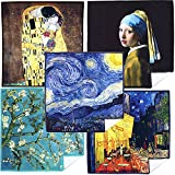 Clean Clear Microfiber EXTRA LARGE [5 Pack] World Best Classic Art Collection - ULTRA PREMIUM QUALITY Clean & Clear Microfiber Cleaning Cloths