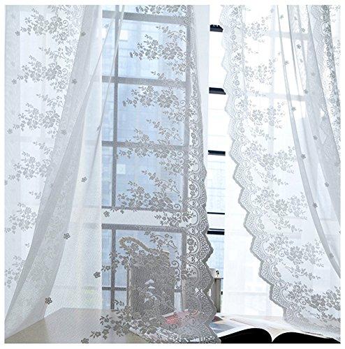 SCOFEEL HOME 1er Spitze Blume Fenster Vorhang Gardinen Fensterschal Dekoschal für Wohnzimmer Kinderzimmer Schlafzimmer (Volant Spitze Schal Fenster)