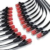 CSL – 20 x 0,25m - Cat 6 Netzwerkkabel Flach | Gigabit Ethernet LAN | RJ45 Kabel / Flachbandkabel / Verlegekabel | 10/100/1000 Mbit/s | Patchkabel / Flachkabel | Kompatibel zu Cat.5 / Cat.5e / Cat.6 | schwarz