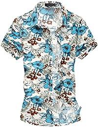 Tee-shirt casual-tee-hawaiian shirt-shirt été-imprimé- Manches courts- Homme