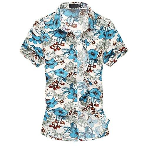 Cloudstyle Herren Urlaub Strand Hawaii Blattaufdruck-Hemd 661 hellblau