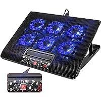 Base de refrigeración gaming para portátiles, 6 ventiladores ultrasilenciosos, iluminación LED azul, negro y azul