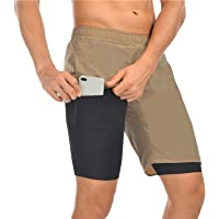 Men's Running Shorts 2in-1 Sport Shorts for Men with Pockets, Lightweight Fast-Dry Men's Compression Shorts 4-Way…