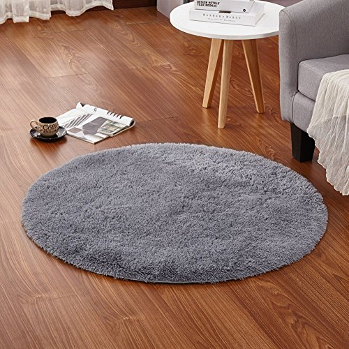 Preisvergleich Produktbild eureya Weich Modern rund, ein Wohnzimmer Teppiche Teppiche für Kinder Schlafzimmer Kinderzimmer mit Rutschfeste Unterseite, Polyester, grau, 120 x 120 cm