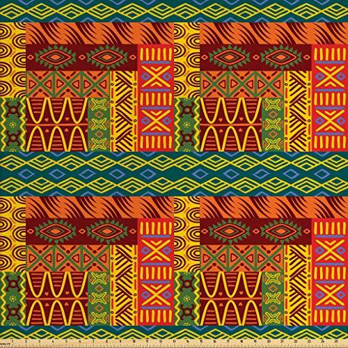 Lunarable Gelb und Braun Stoff von The Yard, Ethnic Aztec African Classic Tribal Motiv mit beliebten geometrischen Formen, Dekostoff für Polster und Wohnaccessoires, 1 Yard, mehrfarbig