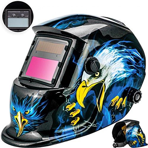Masko®Automatik Schweißhelm | großes Sichtfeld | für alle gängigen Schweißtechniken - Schweißmaske Schweißschirm Solar Schweißschild Schutzhelm , Helm mit Polsterung , | gegen Funken, Spritzer oder Strahlungen | ater