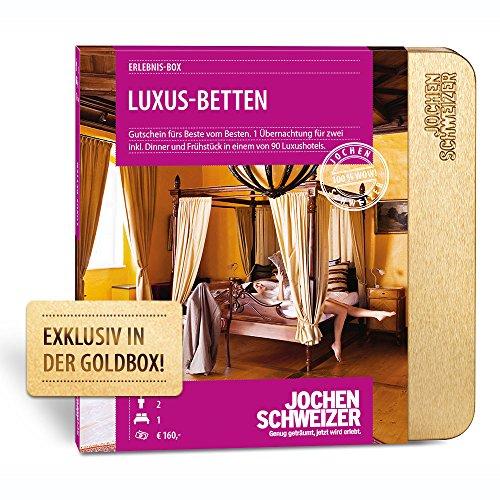 Jochen Schweizer Hotelgutschein LUXUS-BETTEN für 2 | 1ÜN für 2 Personen | inkl. Gutschein für Frühstück und Abendessen | 50 Hotels vorwiegend 5***** | inkl. Geschenkbox
