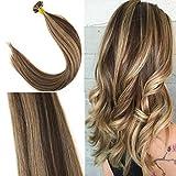 YoungSee 50g/pack Flat Tip Remy Echthaar Extensions Bondings Braun mit Blond Strahnchen Keratin Tip Gute Qualitat Naturliche Haare 22zoll 1g/strand