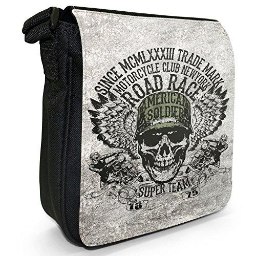 Motorrad-Club Biker Motorradfahrer Totenköpfe Kleine Schultertasche aus schwarzem Canvas American Soldier Totenkopf Team