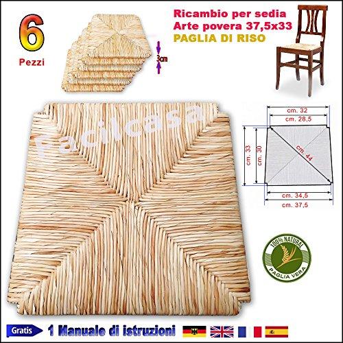 Seduta fondo in paglia di riso facilcasa ricambio per sedia cm. 37,5x33 art.10r
