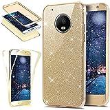 Kompatibel mit Motorola Moto G5-360 Grad Handyhülle Kristall Bling Glänzend Glitzer Durchsichtig Rundum-Schutz Full Cover Komplett Schutzhülle TPU Silikon Crystal Case Handy Tasche,Gold