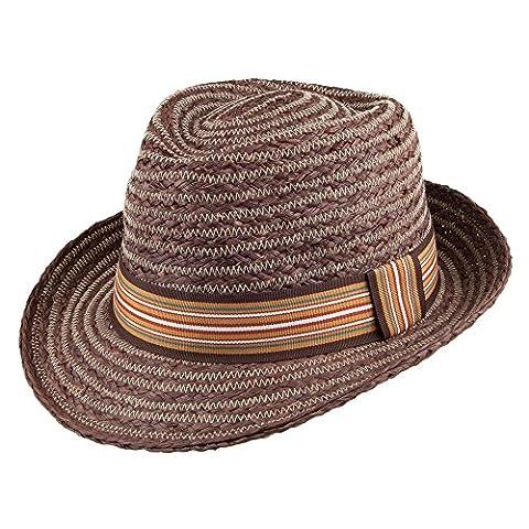 Whiteley Hats Brighton Raffia Straw Trilby - Brown LARGE