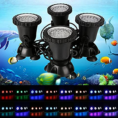 GreenSun 36 LEDs Projecteur Aquarium 8W Spot Led Submersible Ampoule / lampe LED étanche submersible 1 set avec 4 Lumineuse Colorful aquarium sous-marin Spot Light pour Fish Tank avec 24 Télécommande IR Key