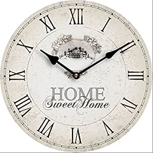 Tinas Collection Nostalgie Wanduhr Ø30 cm, Motiv Home Sweet Home, Shabby Look