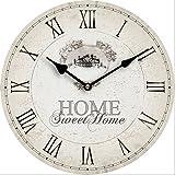 HORLOGE MURALE DESIGN HOME SWEET HOME SHABBY 30CM NOSTALGIE - Tinas Collection