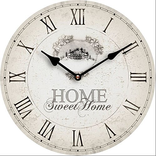 Tinas Collection Nostalgie Wanduhr Ø30 cm, Motiv Home Sweet Home, Shabby Look