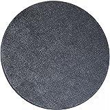 Shaggy Teppich Eco rund - Farbe wählbar | schadstoffgeprüft pflegeleicht schmutzresistent robust strapazierfähig Wohnzimmer Kinderzimmer Schlafzimmer Küche Flur, Farbe:Silber, Größe:300 cm rund