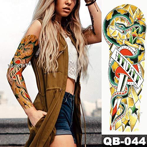 tzxdbh Neue temporäre Tattoo-Aufkleber Snake Star Old School Tattoo mit Arm Body Art Big Sleeve Large Sticker