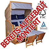 BEREITS MONTIERT ! STRANDKORB DEVRIES PURE GREENLINE 170 XL DESSIN 711, FSC-ZERTIFIZIERT