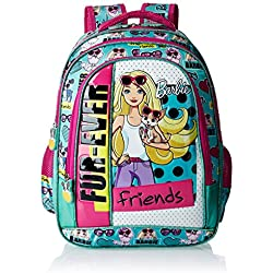 Barbie Polyester 16 Inch Turquoise and Pink Children's Backpack (Age group :6-8 yrs)