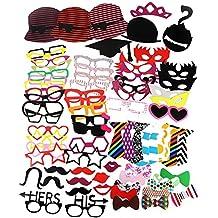 ZOGIN Kit de Accesorios Photocalls Máscaras Disfrazadas de Mascarada con Bigotes, Labios, Corbatas, Gafas y Sombreros para Fiesta Mascarada, Fiesta de Navidad, Bodas, Aniversarios, Cumpleaños - 76 Piezas