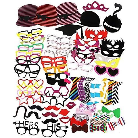 ZOGIN Kit de Accesorios Photocalls Máscaras Disfrazadas de Mascarada con Bigotes, Labios, Corbatas, Gafas y Sombreros para Fiesta Mascarada, Fiesta de Navidad, Bodas, Aniversarios, Cumpleaños - 76