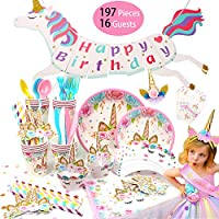 RAIN QUEEN Unicorn party supplies 197 Pieces Decorations & Tableware - Disposable Paper Plates, Cups, Napkins, Straws,Banner,Table Cloth, Cake Topper,Cupcake Wrappers, Headband, Sash -for 16 Guests
