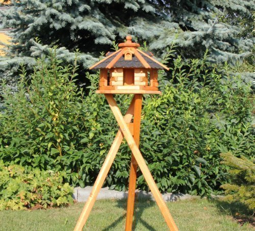 Vogelhaus mit Ständer und Solarbeleuchtung Typ 4-5 (Schwarz, klein)
