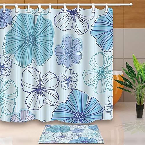 GoHEBE Vector Blumen in Aquarell Schatten 180x180cm Schimmelresistent Polyester Stoff Vorhang für die Dusche Anzug mit 39,9x59,9cm Flanell rutschfeste Boden Fußmatte Bad Teppiche -