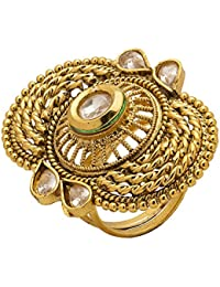 Voylla Traditional Copper With Gold Plating Plated Kundan Rings For Women