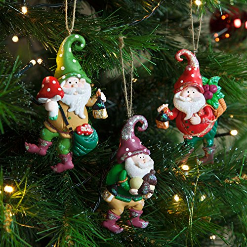 set of 3 claydough garden gnome christmas tree