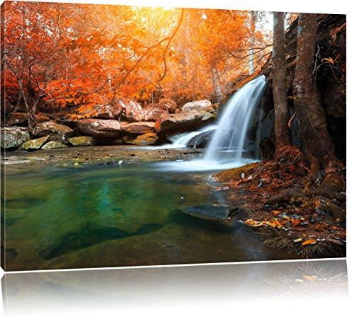 schöner Wasserfall im tiefen Wald, Format: 100x70 auf Leinwand, XXL riesige Bilder fertig gerahmt mit Keilrahmen, Kunstdruck auf Wandbild mit Rahmen, günstiger als Gemälde oder Ölbild, kein Poster oder Plakat -