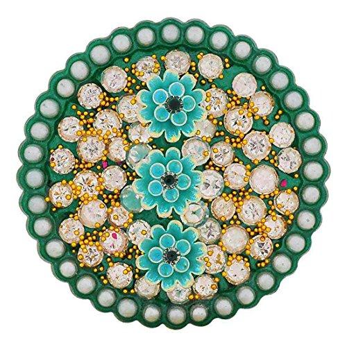 Maayra Hand Woven Pearls Flowers Green Brooch for Women (Dailywear Saree pin_Stone...
