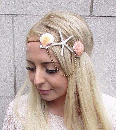Bronze Gold Seestern Sea Shell Haarband Kopfbedeckung Meerjungfrau Stirnband Krone Ariel 3938 (Meerjungfrau Stirnband)