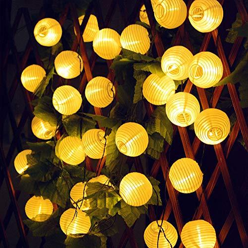 Tobbiheim Lampion Solar Lichterkette 30LED 6,5 Meter mit Timing-Funktion Gartenleuchte 8 Modi Beleuchtung Wasserdicht IP65 Außen und Innen Dekoration für Garten, Terrase, Balkon, Party - Warmweiß (Die Dekoration Mit Lampions)