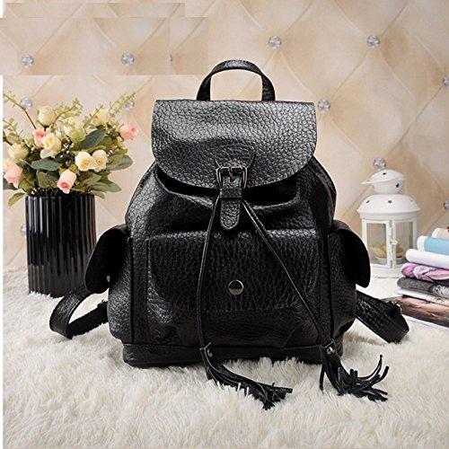 die neue mode - umhängetasche, rucksack, tasche leder. Schwarz