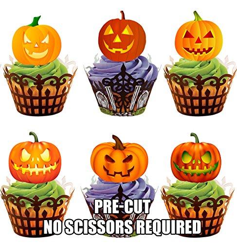 Vorgeschnittene Leuchtende Halloween Kürbisse – Essbare Cupcake Topper / Kuchendekorationen (24 - Halloween-kürbisse Essbar