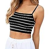POLP Crop Top Camiseta sin Mangas para Mujer Camiseta de Tirantes de Rayas Ejercicio y Fitness Tank Tops de Mallas y Bodies X
