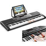 Max KB5 Clavier électronique 61 touches pour débutant, Piano d'apprentissage avec touches lumineuses, Fonction d'enregistreme