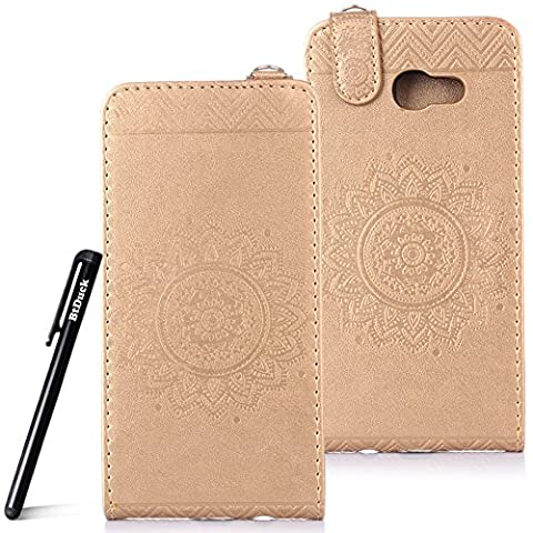 Case for Samsung Galaxy A5 2017 wallet Embossed Flowers case,SM - A520 Ceramic pattern flip cover,BtDuck protective case Earthly gold shell Retro Buddhism Solid color special Chinese Style skin Case for Open vertically Holster Full-body protection machine Totem Anti-scratch Shock Resistant Strong magnetic buckle Magnet Closure [with Lanyard Strap / Rope] Credit Card/Cash Holder Slot - Tuhao Gold angel's trumpet