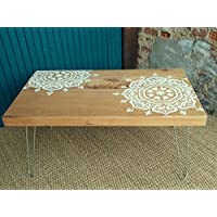 6de0c50cb247c1 Table basse artisanale rustique moderne bois massif brut revisitée au  pochoir inspiration mandala sur hairpin legs