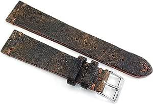 Sulla - Cinturino per orologio in pelle vintage, 20 mm, realizzato a mano in Germania, look retrò, marrone