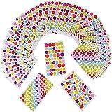 (15 x 9CM) 3618 Gommettes 54 Feuilles Autocollants Adhésifs en Coeur Étoiles Pois Colorés Stickers pour Album Scrapbooking DIY Enfant...